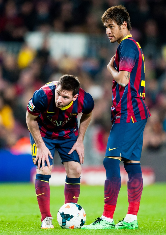 Lionel Messi, left, with Neymar