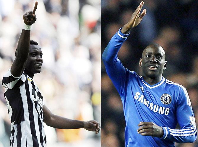 Juventus's Kwadwo Asamoah and Chelsea's Demba Ba