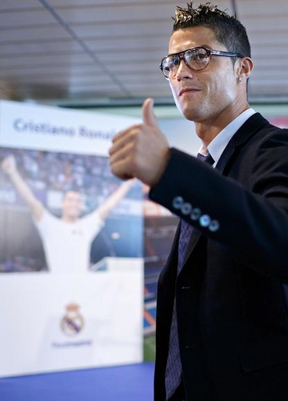 Cristiano Ronaldo greets the media