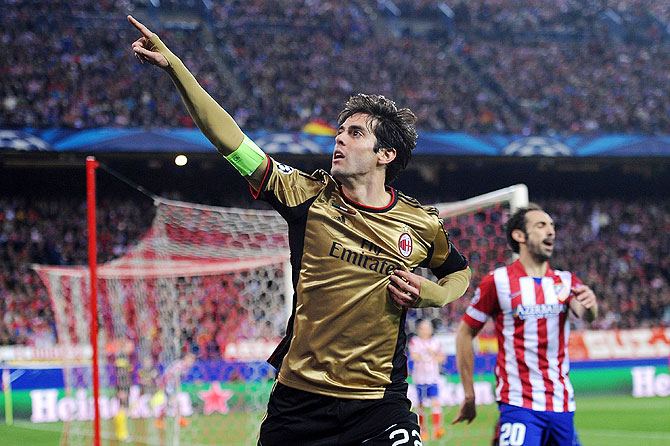Kaka of AC Milan celebrates after scoring against Atletico Madrid on Tuesday