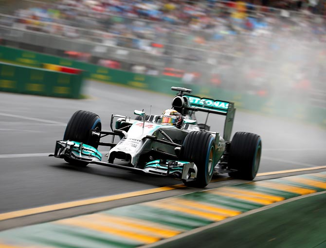 Lewis Hamilton drives during qualifying for the Australian Grand Prix at Albert Park in Me