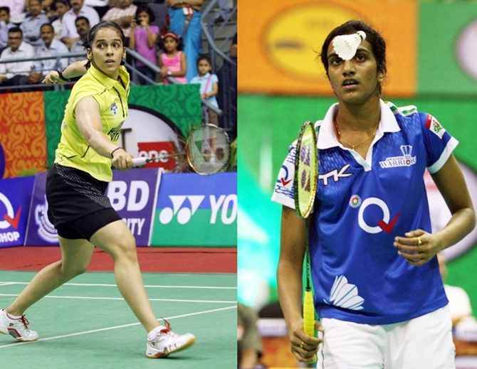 Saina Nehwal, left and P V Sindhu