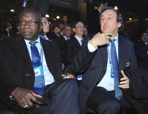 Former FIFA vice-president Jack Warner and UEFA president Michel Platini look on during the FIFA World Cup 2018 & 2022 host announcement on December 2, 2010 in Zurich, Switzerland