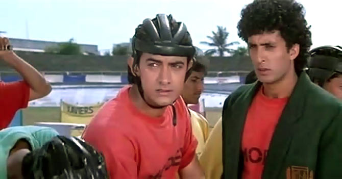Aamir Khan, left, with Mamik Singh in Jo Jeeta Wohi Sikandar