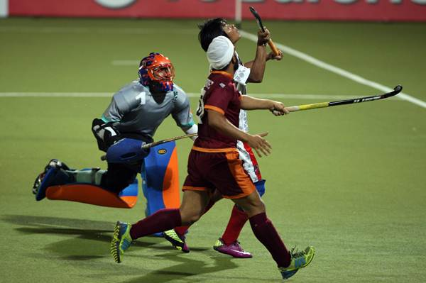 Action from a hockey match in the now defunct World Hockey Series in India