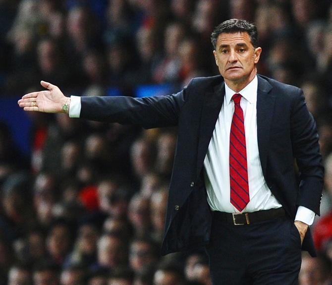 Olympiacos Head Coach Michel gestures