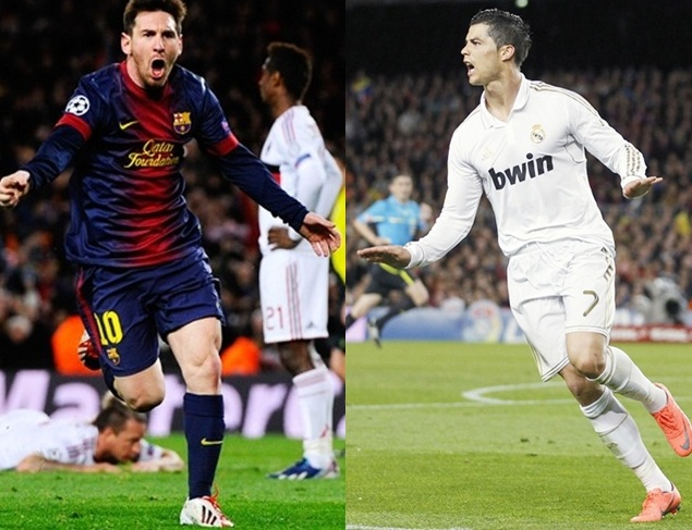 Lionel Messi, left and Cristiano Ronaldo