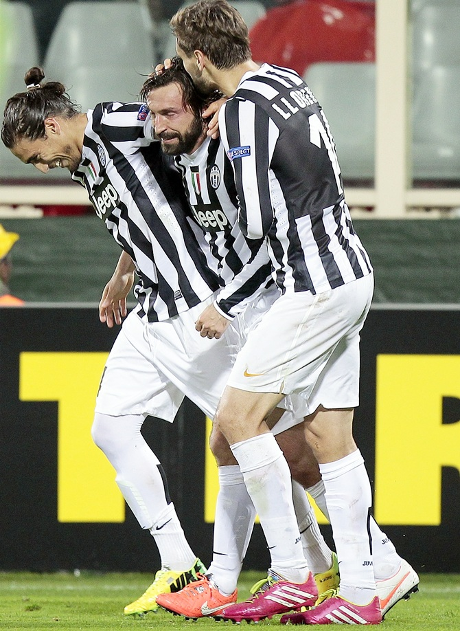 Andrea Pirlo of Juventus FC celebrates after scoring a goal