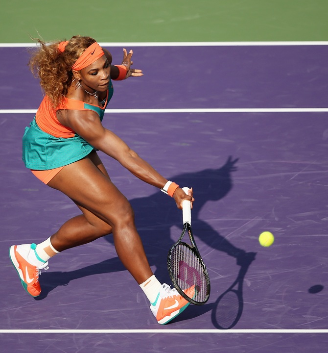 Serena Williams vollies against Yaroslava Shvedova