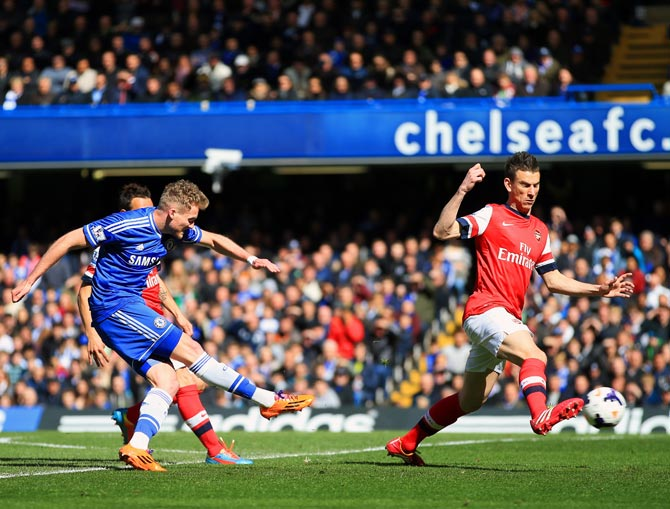 Andre Schurrle of Chelsea scores their second goal