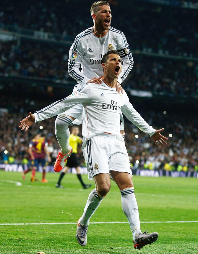 Cristiano Ronaldo of Real Madrid celebrates his team's goal with Sergio Ramos