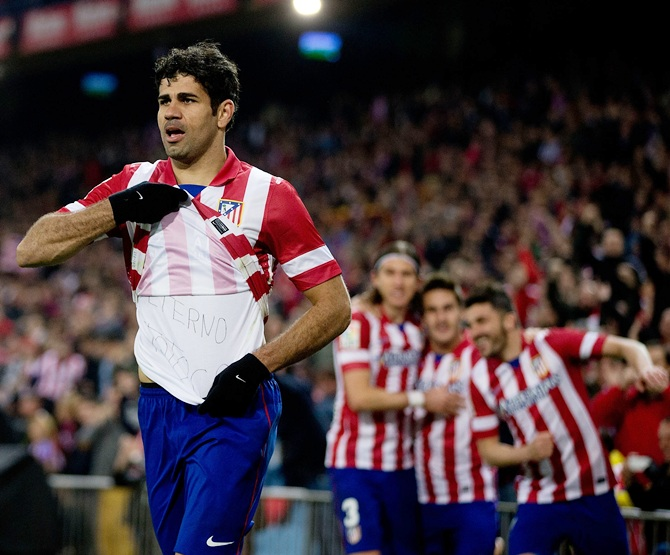 Diego Costa of Atletico de Madrid celebrates