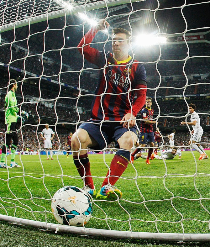 Lionel Messi of Barcelona celebrates after scoring