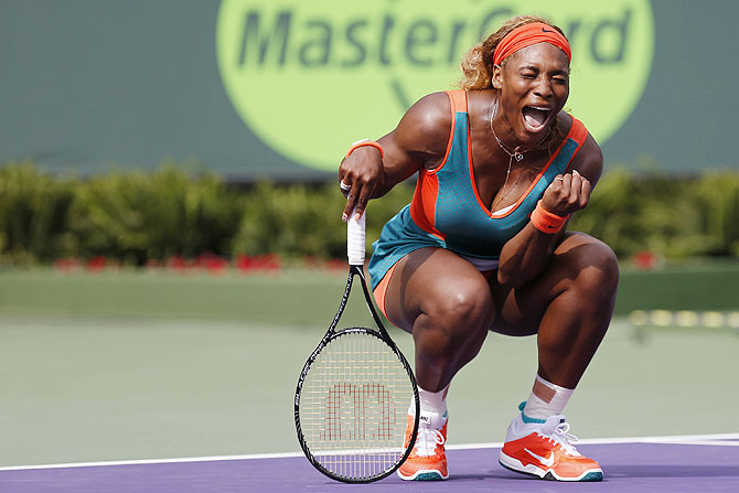 Serena Williams reacts during her match