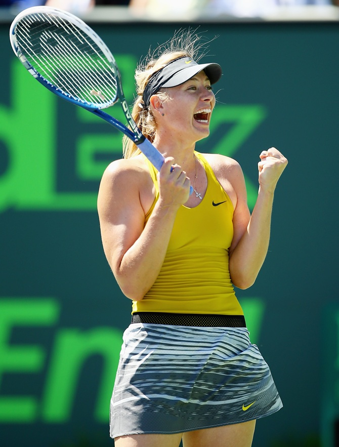 Maria Sharapova of Russia celebrates