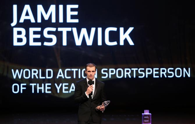BMX cyclist Jamie Bestwick speaks on stage after winning the Laureus World Action Sportsperson of the Year award