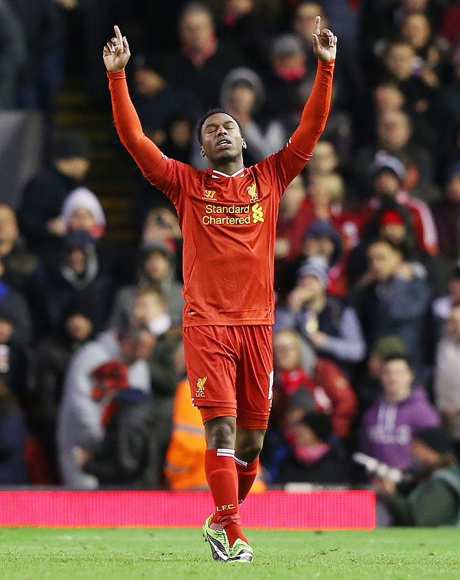 Daniel Sturridge of Liverpool celebrates scoring the second goal against Sunderland on Wednesday