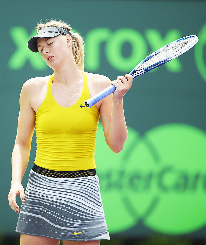 Maria Sharapova of Russia reacts during her match against Serena Williams of the USA at the Miami Masters Sony Open at Crandon Park Tennis Center in Key Biscayne, Florida on Thursday