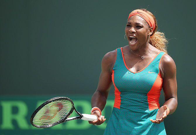 Serena Williams of the United States reacts during her match against Maria Sharapova of Russia on Thursday
