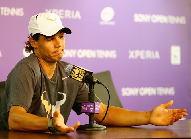 Rafael Nadal speaks to the media regarding his semi final opponent   Tomas Berdych withdrawing from the match due to gastroenteritis