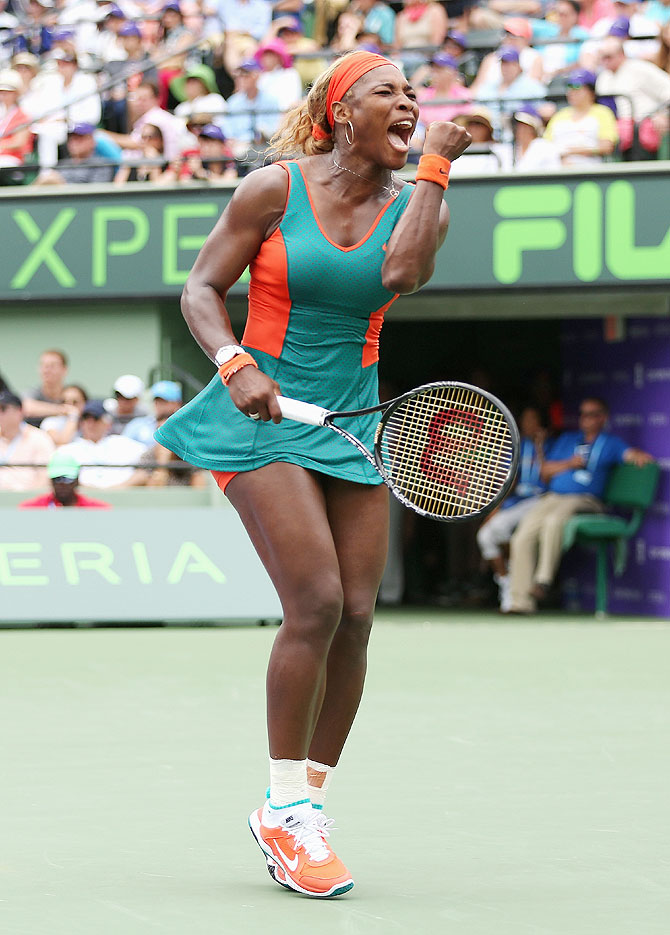 Serena Williams of the United States celebrates a point against Li Na of China on Saturday
