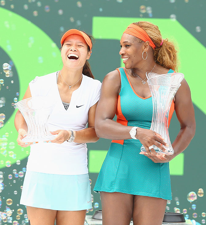 Serena Williams of the USA and Na Li of China share a laugh after their Women's final match of the Miami Masters Sony Open on Saturday