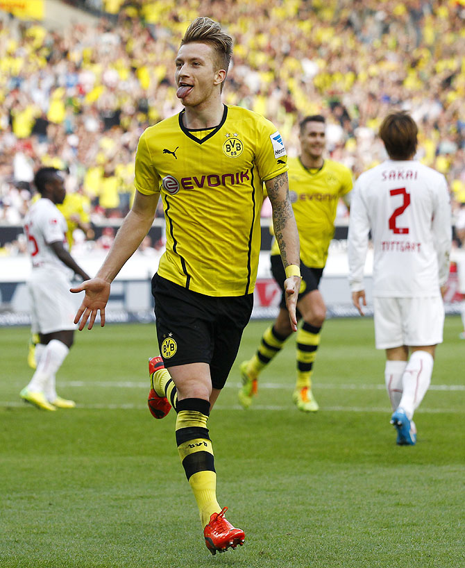 Borussia Dortmund's Marco Reus celebrates a goal against Stuttgart on Saturday
