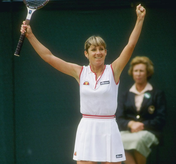 Chris Evert of the USA celebrates a victory