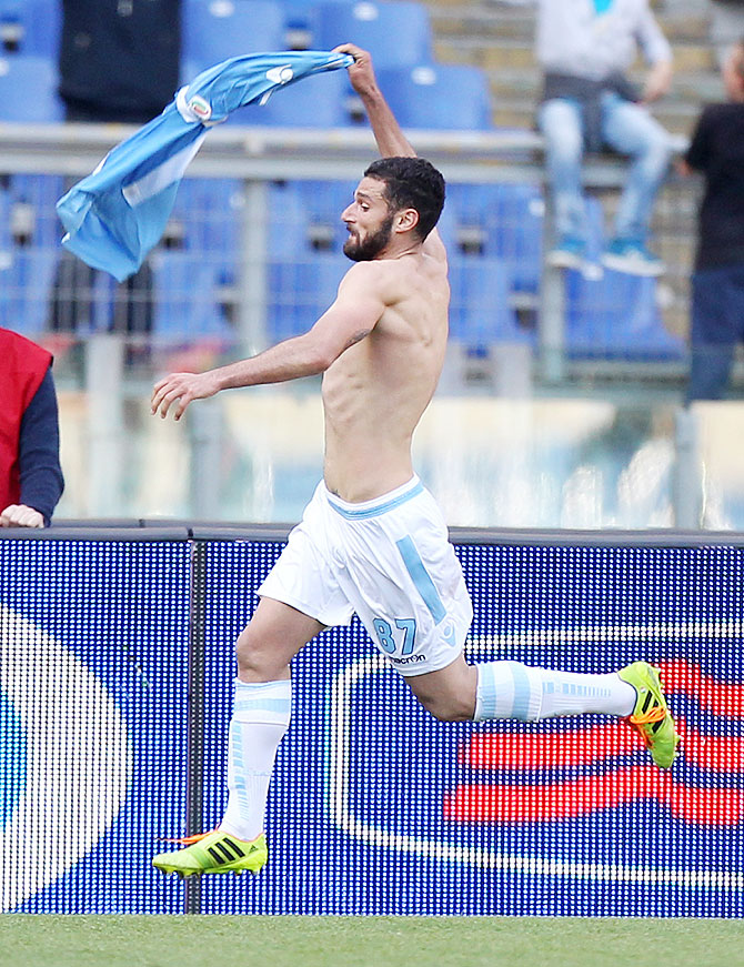 Antonio Candreva of SS Lazio celebrates after scoring the third goal against Parma FC  during their Serie A match at Stadio Olimpico in Rome on Sunday