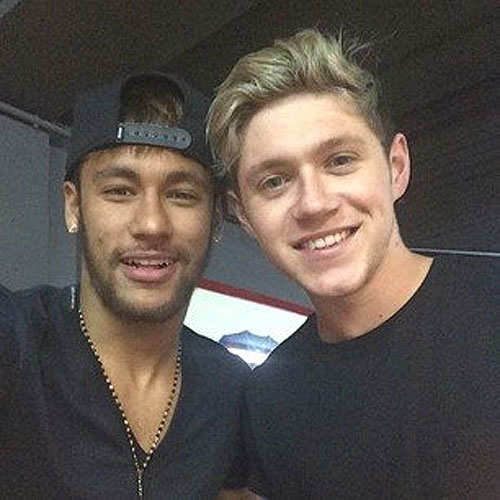 Barcelona and Brazil footballer Neymar with One Direction's Niall Horan