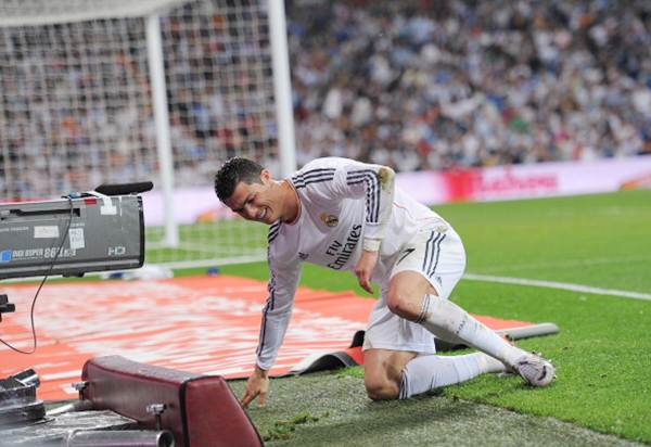 Real Madrid's Cristiano Ronaldo reacts after scoring against Valencia