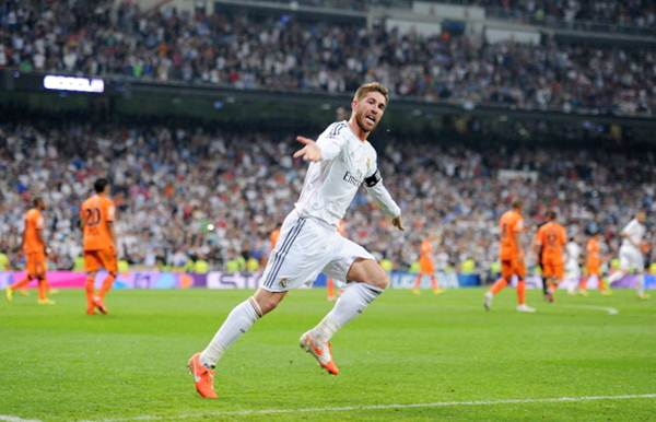 Real Madrid's Sergio Ramos celebrates after scoring