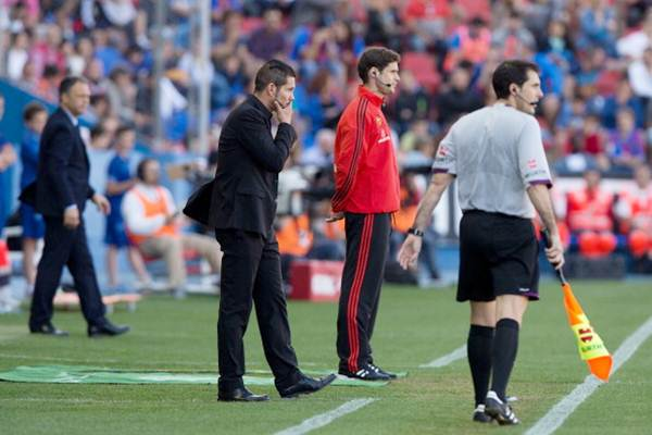 Head coach Diego Pablo Simeone of Atletico de Madrid looks uneasy during the La Liga match