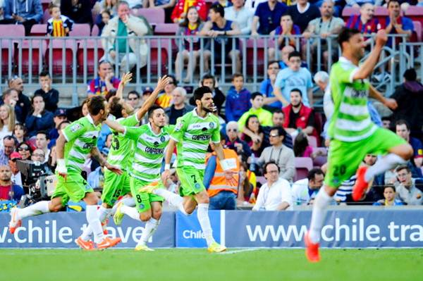 Angel Latifa (centre) of Getafe celebrates after scoring his team's second goal