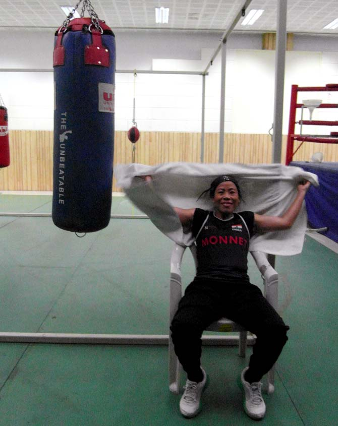 MC Mary Kom at the training camp in Pune