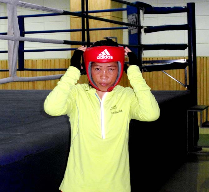 MC Mary Kom prepares for a sparring drill