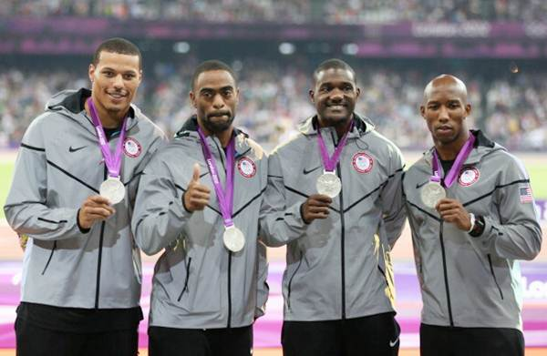 Silver medalists Trell Kimmons, Justin Gatlin, Tyson Gay and Ryan Bailey of United States pose on the podium during the medal ceremony for the men's 4 x 100m relay on Day 15 of the London 2012 Olympic Games