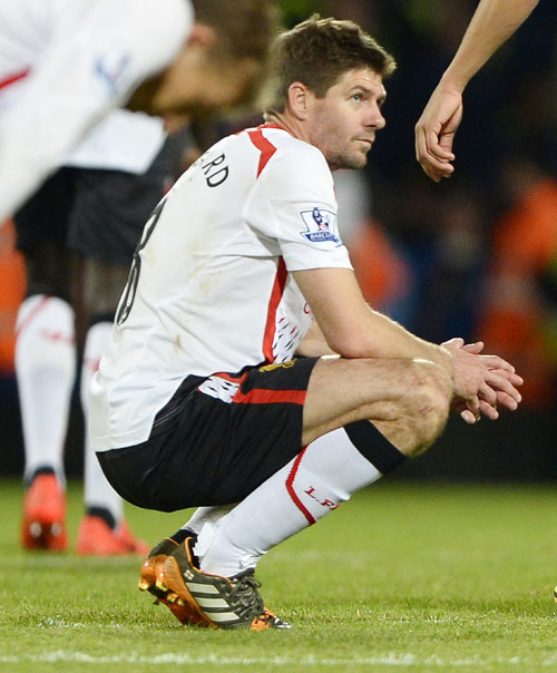 Liverpool's Steven Gerrard reacts following their English Premier League match against Crystal Palace at Selhurst Park