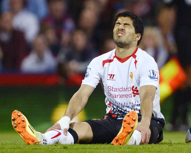 Liverpool's Luis Suarez reacts during their match against Crystal Palace