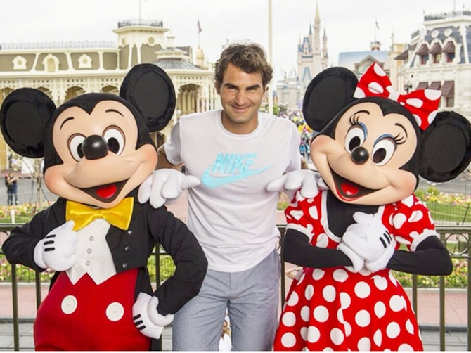 Roger Federer with Mickey n Minnie mouse