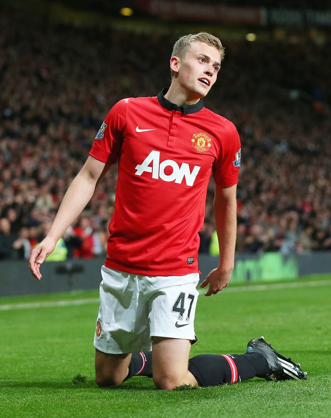 James Wilson of Manchester United celebrates scoring
