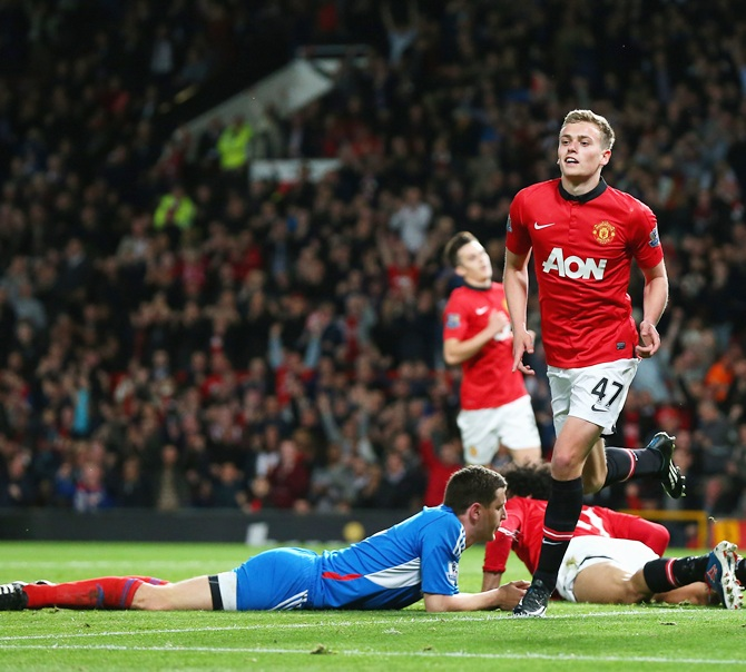 James Wilson of Manchester United celebrates