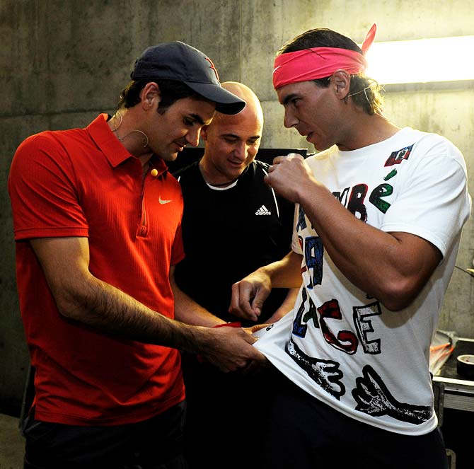 (Left to right): Roger Federer, Andre Agassi and Rafael Nadal.