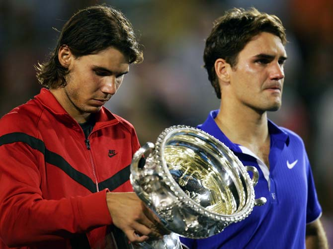 Rafael Nadal (left) checks out the 2009 Australian Open final after beating Roger Federer in the final.