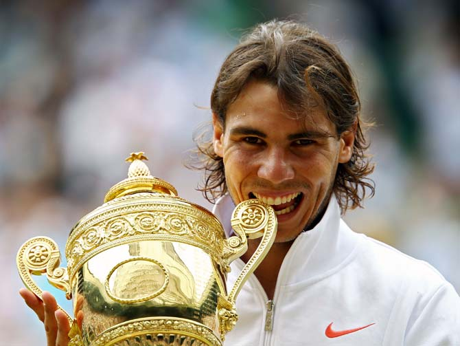 Rafael Nadal celebrates winning the Wimbledon title in 2010.