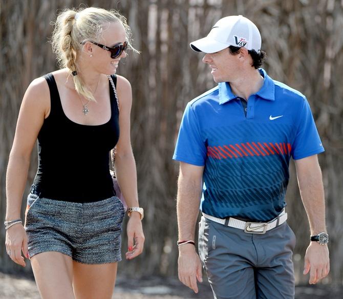 Tennis star Caroline Wozniacki of Denmark and golfer Rory McIlroy of Northern Ireland