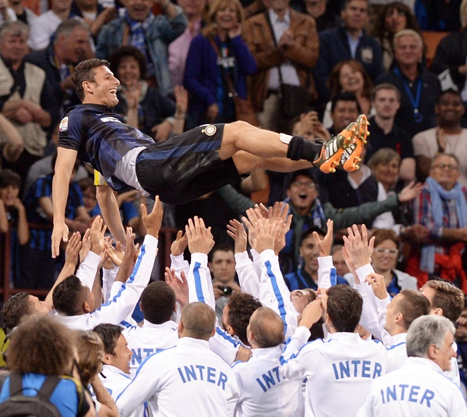 Captain of FC Inter Milano Javier Zanetti after the last match of his career at San Siro Stadium