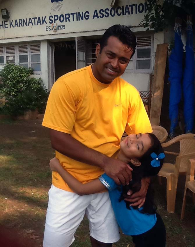 Leander Paes with his daughter, Aiyana