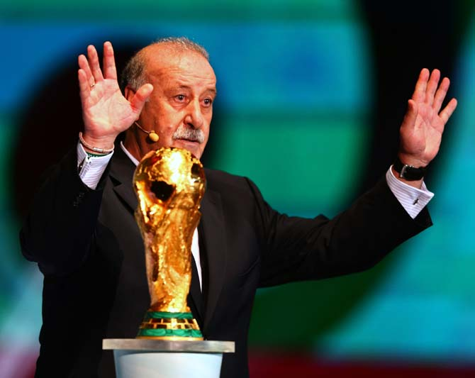 Spain coach Vicente del Bosque with the World Cup trophy