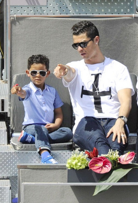 Real Madrid footballer Cristiano Ronaldo and his son Cristiano Ronaldo Junior